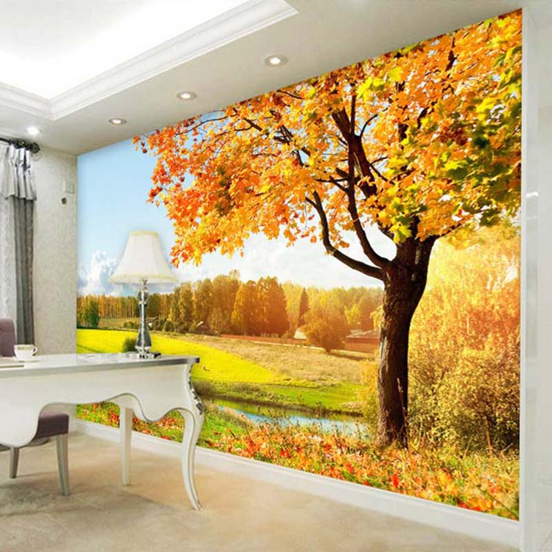Custom 3D Photo Wallpaper Golden Autumn Tree Nature Landscape ...