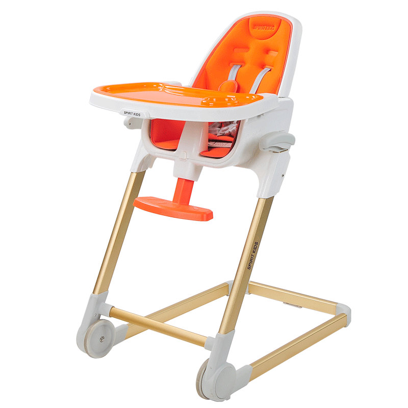 Simply Stackable Highchair, adjustable baby feed chair, 4 in 1 fold booster seat soft portable baby feed chair gift pillow and rope 4wheels baby booster seat light baby feed chair