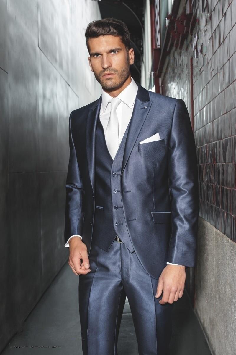 6d86d631e29b Navy Blue Handsome Wedding Ceremony Men suit Groom Tuxedos Bridegroom Groomsman  Suit Jacket+Pants+Tie+Vest
