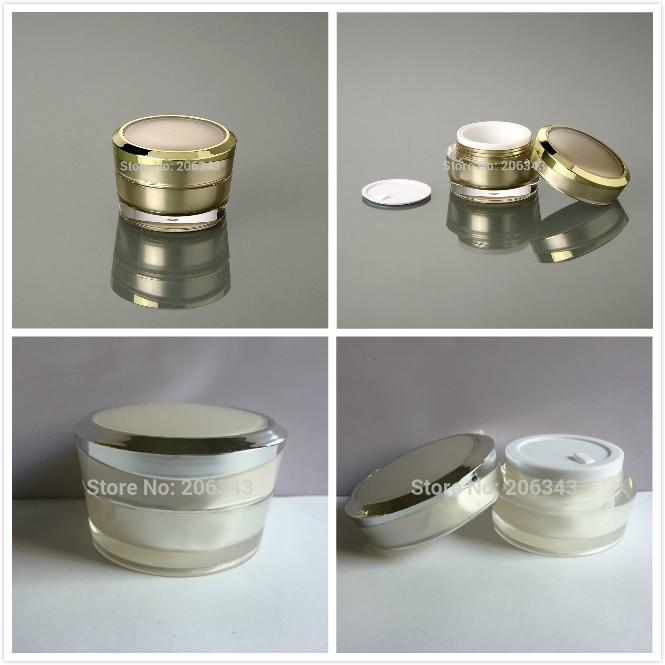 15g gold pearl white acrylic jar cream bottle for day cream eye cream gel essence moisturizer