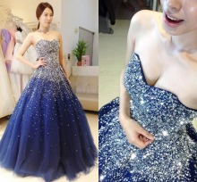 Sexy Navy Blue Prom Dresses 2019 Ball Gown Sweetheart Beaded Custom Made Formal Evening Party Gowns Floor Length robe de aoriee