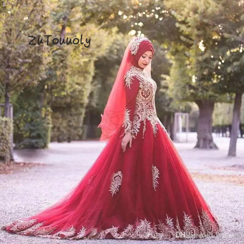 Muslim Evening Dress High Neck Long Sleeves Red Arabic Evening Gowns Gold Appliques Tulle Formal Engagement Reception Dress 2018