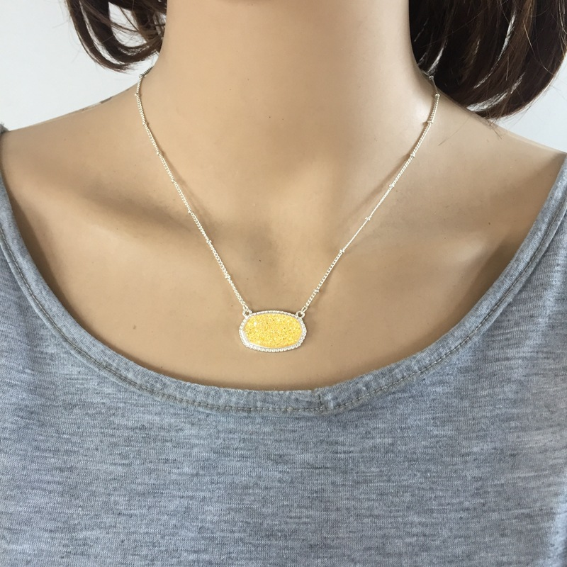925 Silver Plated Zircon Pendant Necklace Women Wedding Party Gift P003