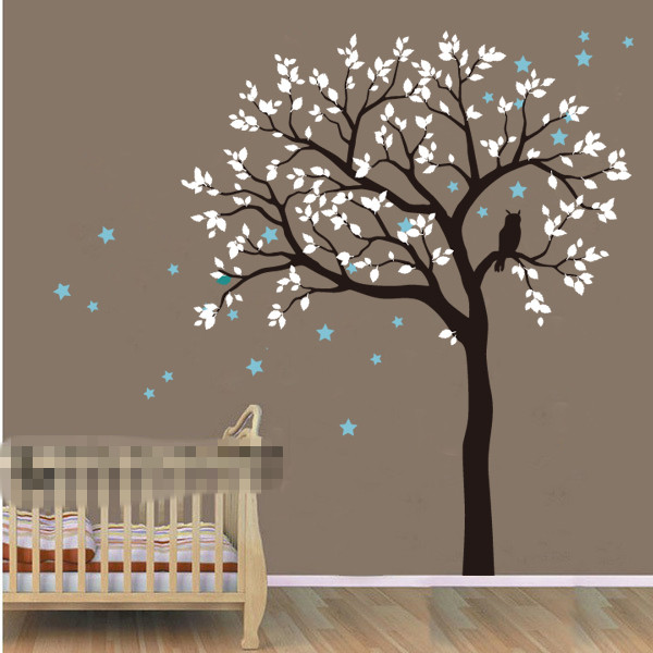 Diy large size owl hoot star tree nursery wall stickers for Diy tree wall mural