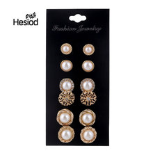 Hesiod 6 Pairs/Set Gold Color Flower Hollow Stud Earring Vintage Crystal Simulated Pearl Earrings Set For Women Wedding Jewelry(China)