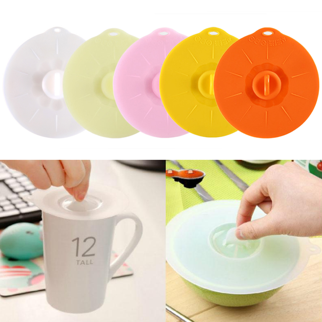 Kitchen Storage Cup Cover Silicone Cup Cover Lovely Odorless Cap Lid Leak Proof Fresh-Keeping Sealed Coffee Suction Seal Lid Cap
