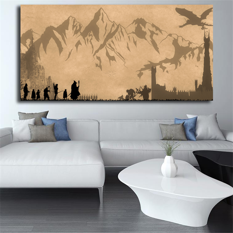 The Lord Of The Rings Wallpaper LOTR Canvas Painting Print Living Room Home Decor Modern Wall Art Oil Painting Poster Pictures in Painting Calligraphy from Home Garden