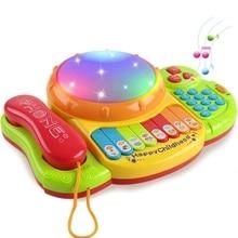 Детская музыкальная игрушка барабан развитие обучения музыкальная клавиатура пианино Telefoon барабан детская песня история Ранние развивающие игрушки распродажа