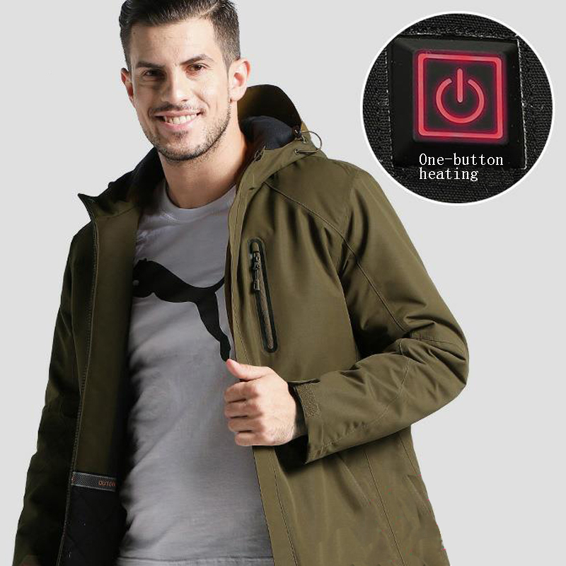 Image 3 - Men's Winter Outdoor Intelligent USB Work Hooded Heating Jacket Coats Adjustable Temperature Control Safety Clothing DSY0012-in Safety Clothing from Security & Protection