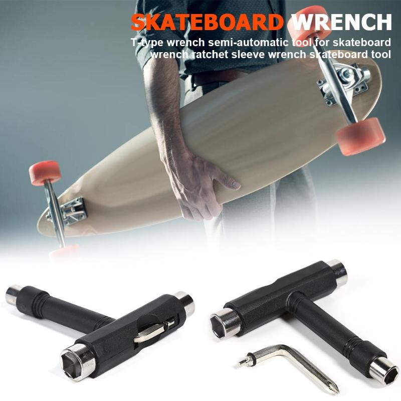 T Type Skateboard Wrench Tool Ratchet Mini Kick Socket Wrench Kick Scooter Skate Hand Tool Black 2019 in Skate Board from Sports Entertainment