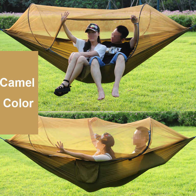Tewango 2018 New Double Outdoor Person Travel Camping Survivor Hanging Hammock Bed With Mosquito Net Sleeping Swing Portable