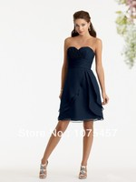 Elegant Navy Blue Bridesmaid Dresses Sweetheart 2014 New Arrival With Pleat Off The Shoulder Sleeveless Free