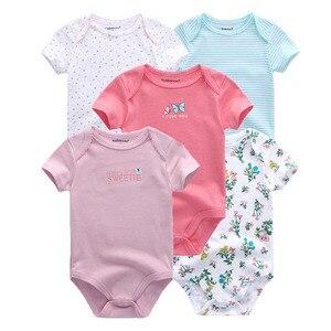 Image 3 - Monos unisex de manga corta para bebé recién nacido, mono con cuello redondo de 0 a 12M, ropa de bebé, conjuntos de ropa de bebé, lote de 5 unidades