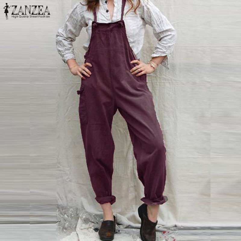2019 ZANZEA Casual Strappy Jumpsuits Women Solid Pockets Party Long Playsuits Summer Vintage Overalls Female Pants Rompers S 5XL