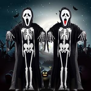 Маскарадный костюм для мужчин и женщин на Хэллоуин, костюм черного Призрака с черепами, маскарадный костюм, реквизит