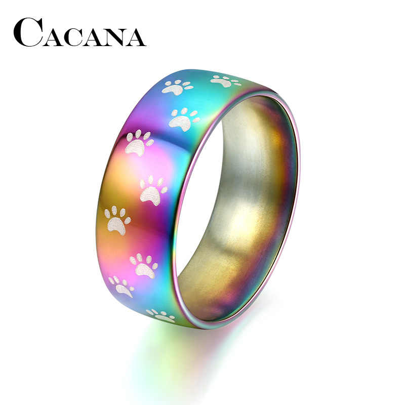 CACANA  Stainless Steel Rings For Women Colored Bear Claw Engagement personalized custom Fashion Jewelry Rings