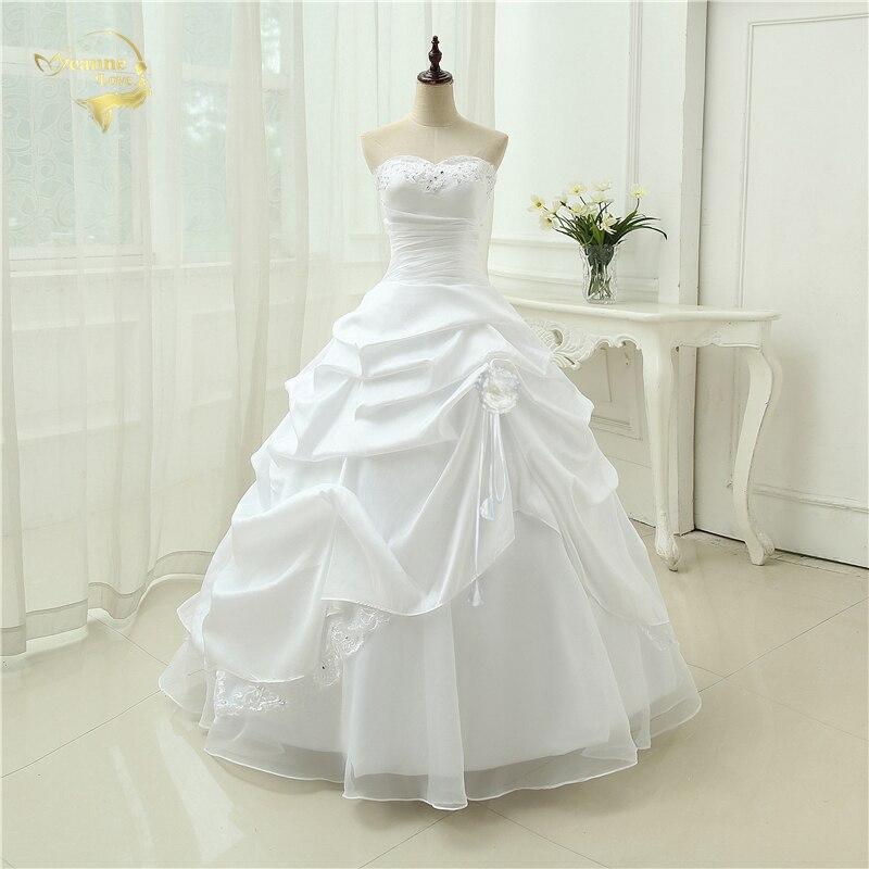 Wedding Gown A line Vestido De Noiva Applique Sequins Sweetheart Casamento White Ivory Plus Size 2019