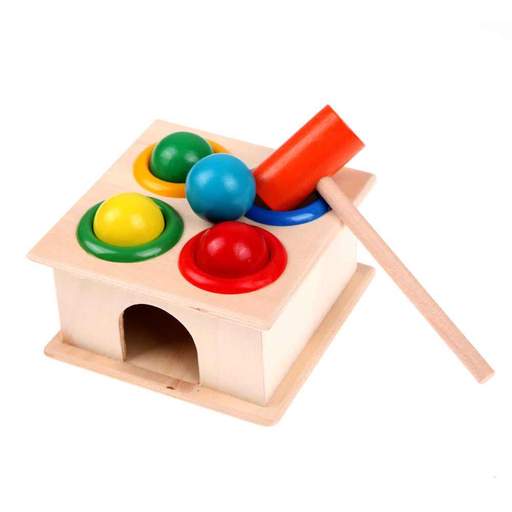 Kids Montessori Wooden Toys Wooden Hammering Ball Hammer Box Children Fun Playing Hamster Game Kids Early Educational Toys Gifts