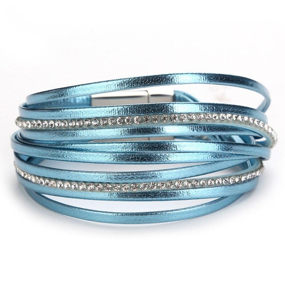 Laser MetalMultilayer Handle Imitation pu Metal Rhinestone Alloy Magnetic Buckle Bracelet