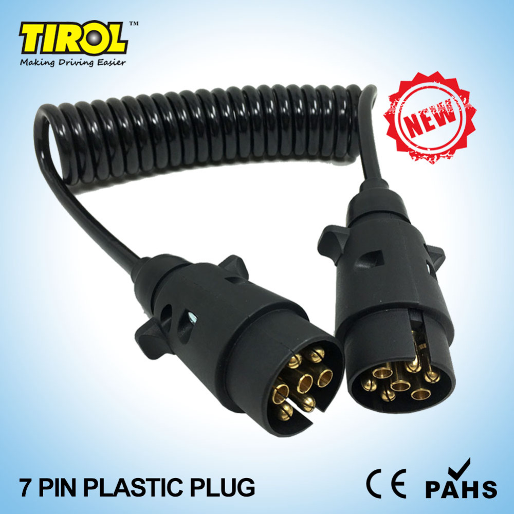 TIROL 7 Pin Plastic Plug Black Trailer Wiring Spring Cable Connector ...
