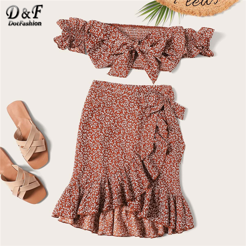 Dotfashion Rust Knotted Shirred Floral Bardot Top With Ruffle Wrap Skirt Set Women 2019 Boho Summer Short Sleeve Two Piece Set