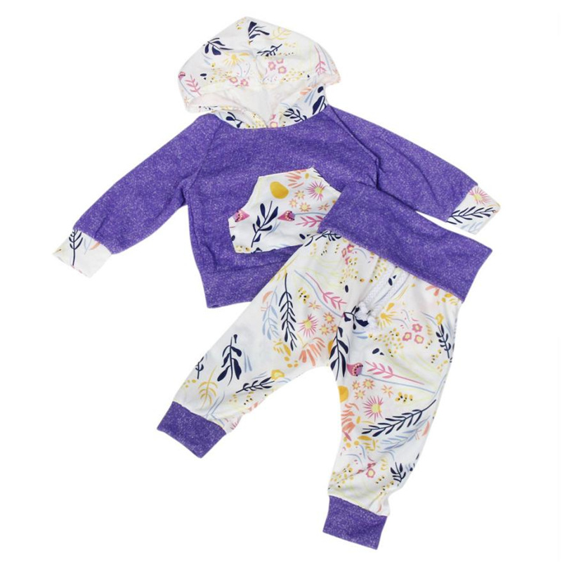 clothing for baby Newborn Baby Kid Floral Print Long Sleeve Top +Pants Outfits Hooded Clothes Set baby girl winter clothes L0817