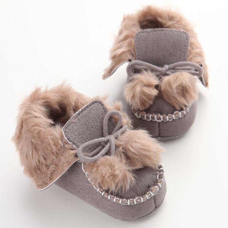Winter Cute Baby Shoes Infants Warm Shoes Fur Wool Girls Baby Boy Warm Villus Shoes Soft ...