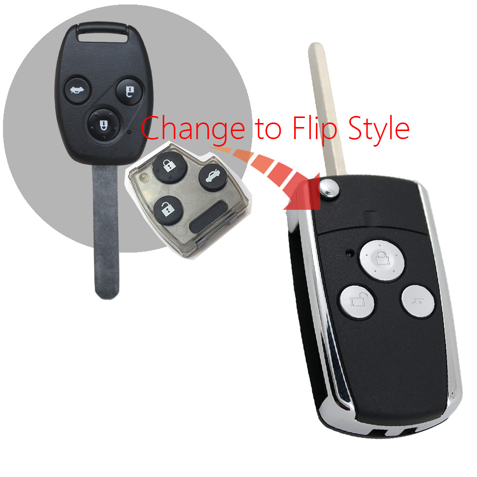 1pcs 3 Button Modified Flip Remote Car Key Shell for Honda CRV Fit Accord Pilot civic ...