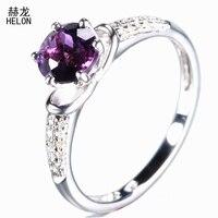 Okrągły 6.5mm Ametyst Pierścień 925 Sterling Silver Amethyst Kamień Szlachetny Diamenty Ślubne Zaręczynowe Pierścień Dla Kobiet Biżuteria