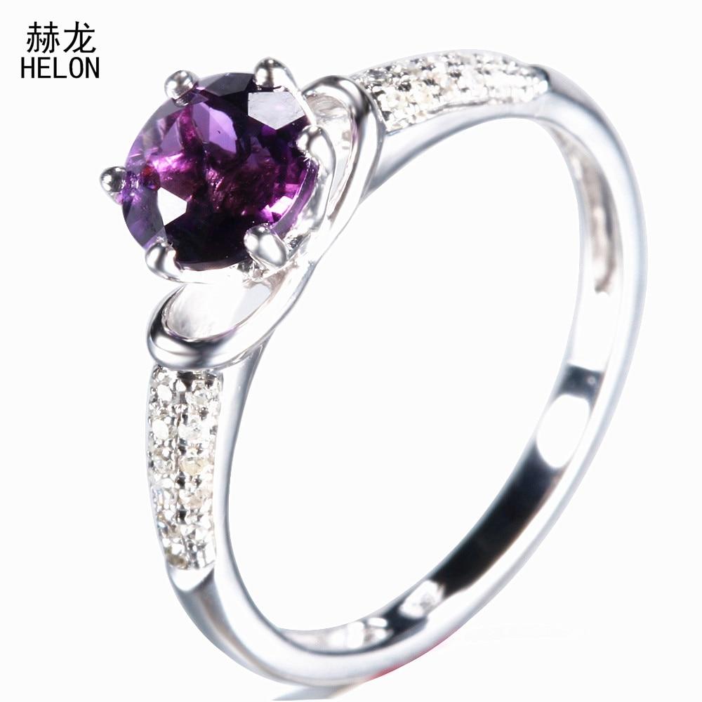 все цены на Round 6.5mm Amethyst Ring 925 Sterling Silver Amethyst Gemstone Jewelry Engagement Wedding Diamonds Ring For Women Jewelry