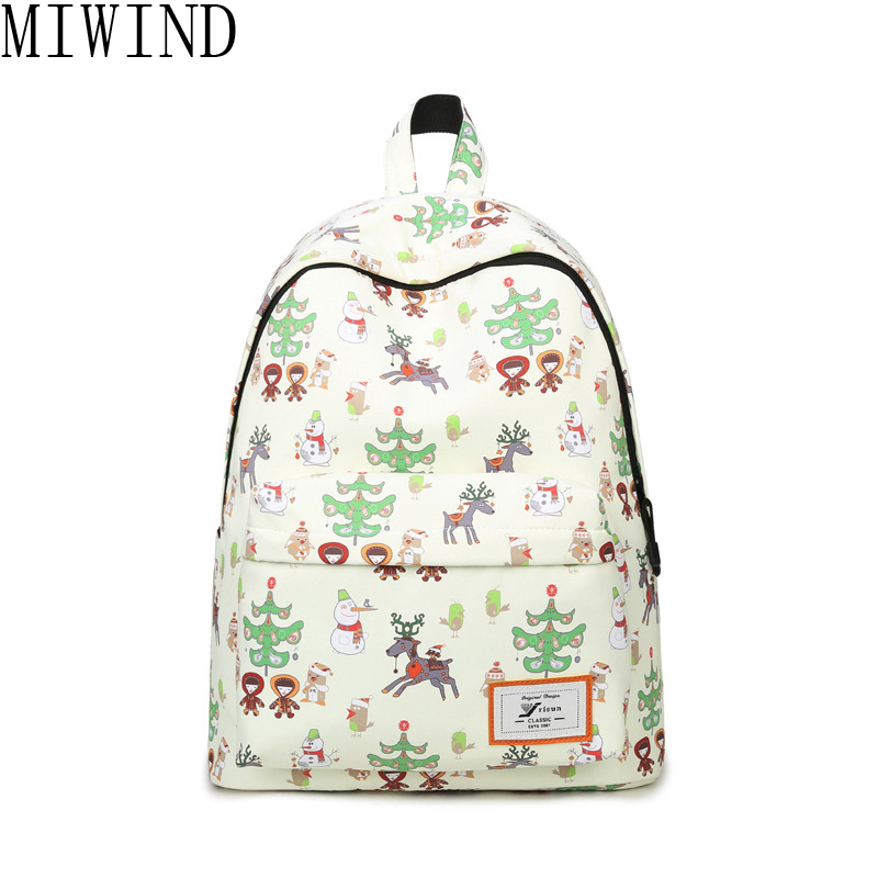 MIWIND Printing Backpack Women Canvas School Bags for Teenage girls Travel Bag Rucksack Flower Backpack Female