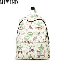 Miwind Печать Рюкзак Женщины Холст Школьные сумки для девочек-подростков дорожная сумка рюкзак цветок рюкзак женский TJQ962