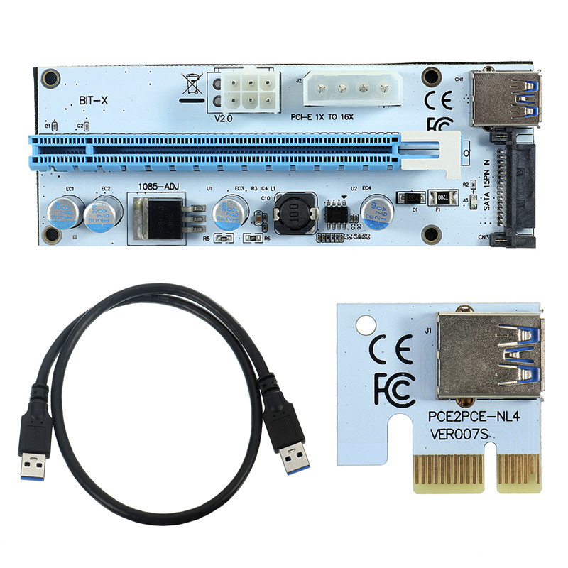 NEW USB3.0 PCI-E Riser Express 1X 4x 8x 16x Extender Riser Adapter Card SATA 15pin Male to 6pin Power Cable Dual Power Interface кабель orient c391 pci express video 2x4pin 6pin