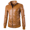 Moda casual para hombre de cuero de la motocicleta 2016 nuevo anuncio altura collo costilla r de manga slim fit chaqueta de cuero para hombre ZPY32