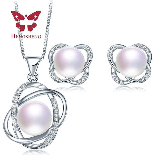 e48c1f87f HENGSHENG Classic Natural Pearl Jewelry Sets 2017 Trendy Pearl Pendants  Earrings Sets Women Wedding Jewelry Set
