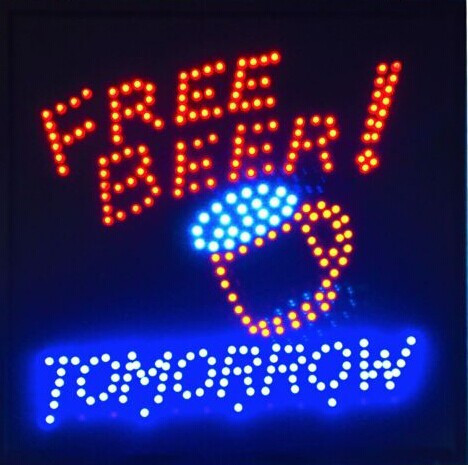 Get Free Beer Tomorrow Neon Sign Background