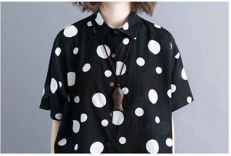 #5772 Summer Black Short Sleeve Shirt Korean Fashion Polka Dot Cotton Linen Shirt Women Large Size Top Femme Ruffle Blouse Tide