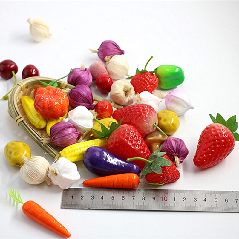10 Pieces Mini Simulation Plastic Fruit Children's Toys Shooting Props Fake Vegetables