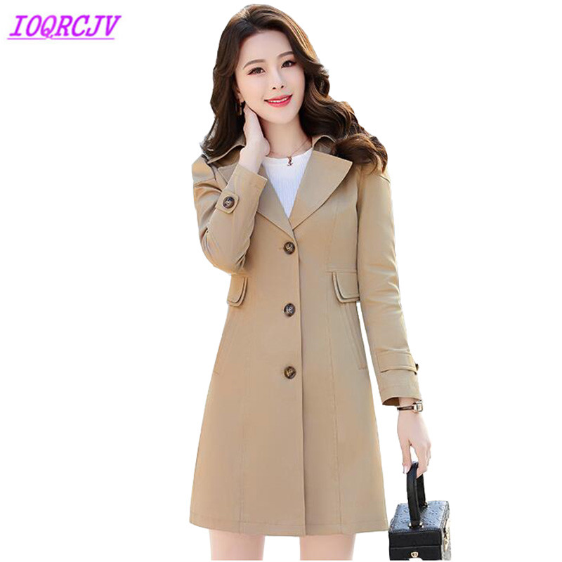 Boutique   trench   coat Women 2018 spring autumn Windbreaker for female Plus size Slim coat Medium length lady top IOQRCJV H304