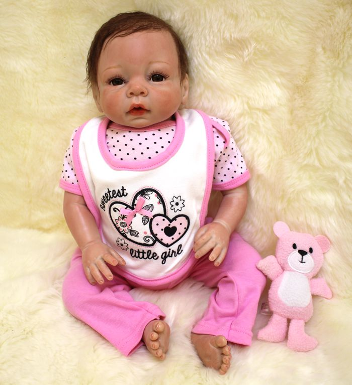 Soft Body Silicone Reborn Baby Dolls Toy Lifelike Newborn Girls Babies With Cloth Body Bedtime Play House Toy Collectable Doll npkcollection 40cm silicone reborn baby doll toy lifelike play house bedtime toys gift for kid lovely newborn girls babies dolls