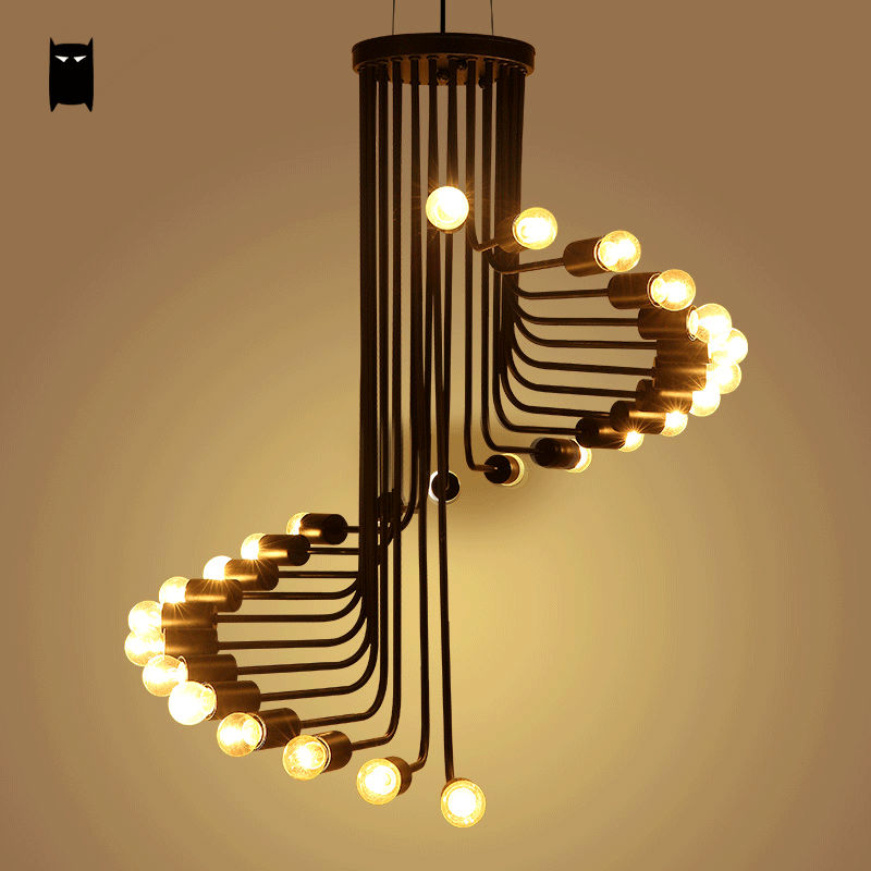 Black Iron Spiral Pendant Light Fixture Modern Retro Industrial Vintage Staircase Bulb Hanging Lamp Lustre Luminaria Dining Room
