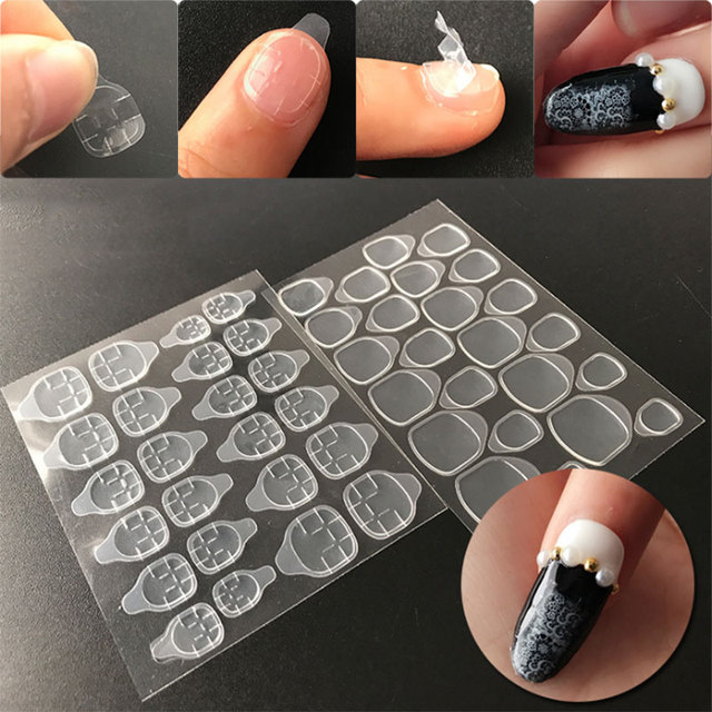12 Pcs/Set Breathable Nail Glue Stickers Double Side Adhesive Transparent Tape Sticker False Nail Tips Lady Nail Art Tool FM88-in Stickers & Decals ...
