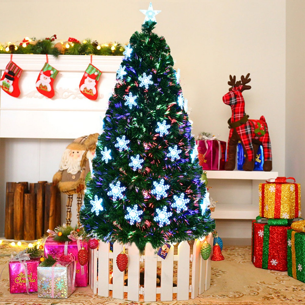 Goplus 7' Pre Lit Fiber Optic Artificial Christmas Tree w