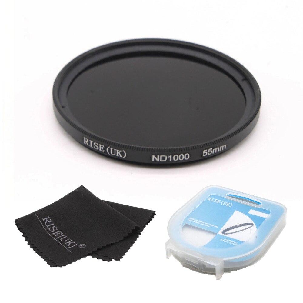 Livraison gratuite RISE (ROYAUME-UNI) 55mm ND1000 Optique à Densité Neutre Slim ND 1000 Lens Filter pour REFLEX DSLR caméra