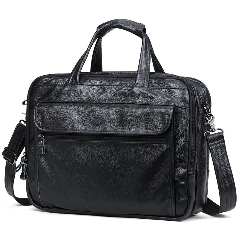 """Bagaj ve Çantalar'ten Evrak Çantaları'de 100% Doğal Inek Deri Erkek Çanta Büyük Hacimli 15 """"Inç laptop çantası Hakiki Deri omuz çantaları 3 Kat Iş Evrak Çantası'da  Grup 1"""