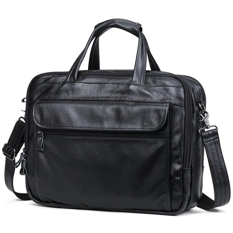 """100% naturalna skóra bydlęca mężczyźni torebka duża objętość 15 """"Cal laptopa torba z prawdziwej skóry torby na ramię 3 warstwy walizka biznesowa w Teczki od Bagaże i torby na  Grupa 1"""