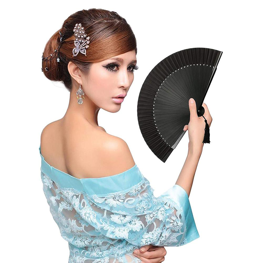 Bamboo Hand Fan Black Elegant Carved Hand Held Folding Fans Bamboo Wood Silk Folding Fans For Events