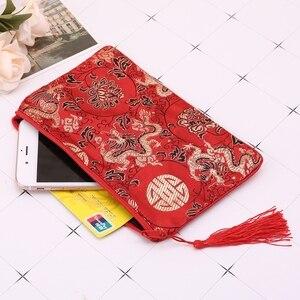 Thinkthendo 5 cores novas mulheres universal saco de telefone poliéster titular do cartão carteira pequena flor borla bolsa presente para a menina