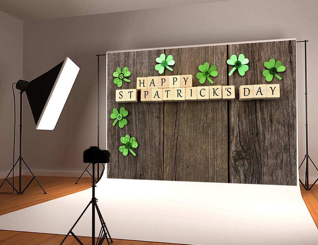 St Patricks Day paper shamrocks rustic faux brown wood Backgrounds Vinyl cloth High quality Computer print wall backdrop vintage castle retro medieval architecture stone bridge mountain backdrop vinyl cloth computer print wall backgrounds
