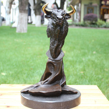 art  bull cow abstract works of Home Furnishing first copper bronze sculpture Hotel decoration crafts